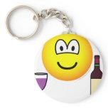 Wine drinking emoticon   keychains