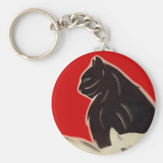 Keychains ~ Art deco style Cats on Red Feline Gift