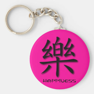 Keychains Chinese Happiness Symbol On Pink PNK