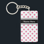 "Keychains With Names Two Sided<br><div class=""desc"">Keychains with names you can personallize for girls or women in this girly fun two sided pink polka dot acrylic monogram keychain that lets you carry your keys in style. Pink polka dots make a nice pattern that looks chic and stylish.</div>"