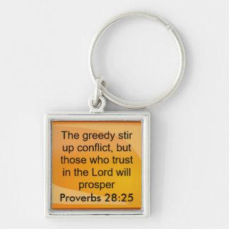 keychin del 28:25 de los proverbios llavero cuadrado plateado