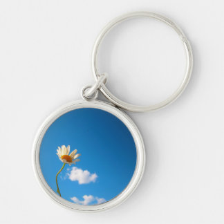 KeyDaisywhite Silver-Colored Round Keychain