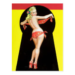 Keyhole Blonde Pin Up Postcard