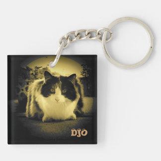 Keyhole Calico Cat Double-Sided Square Acrylic Keychain
