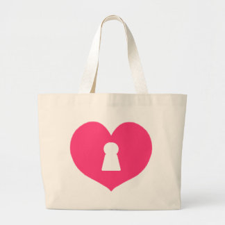 Keyhole Heart Pink Large Tote Bag