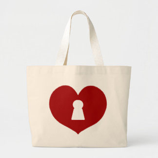 Keyhole Heart Red Large Tote Bag