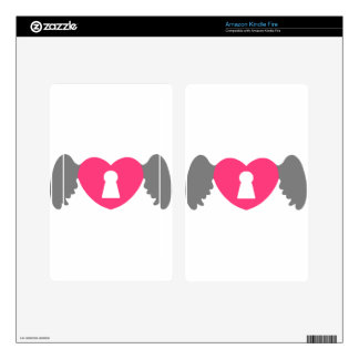 Keyhole Heart Wing Grey-Pink Kindle Fire Decals