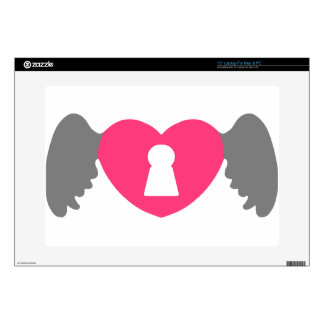 Keyhole Heart Wing Grey-Pink Laptop Skins
