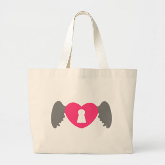 Keyhole Heart Wing Grey-Pink Large Tote Bag