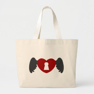 Keyhole Heart Wing Grey-Red Large Tote Bag