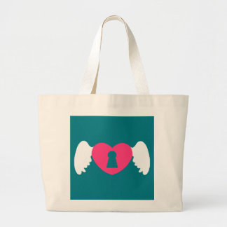 Keyhole Heart Wing White-Pink Large Tote Bag