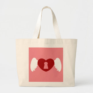 Keyhole Heart Wing White-Red Large Tote Bag