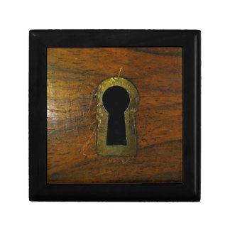 Keyhole in a wooden door gift boxes