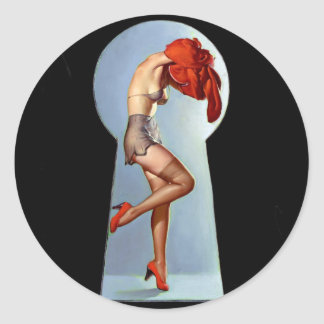 Keyhole Pin Up Classic Round Sticker
