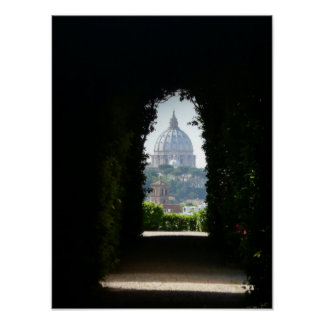 Keyhole view of St Peter's Dome, Rome, Italy Poster