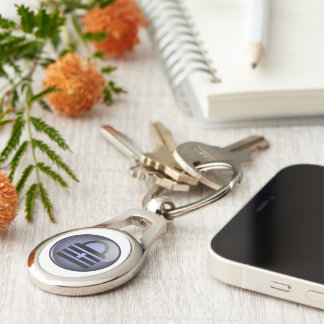 Keypass Button Symbol Silver-Colored Oval Metal Keychain