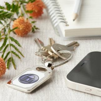 Keypass Button Symbol Silver-Colored Rectangular Metal Keychain