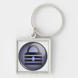 Keypass Button Symbol Silver-Colored Square Keychain