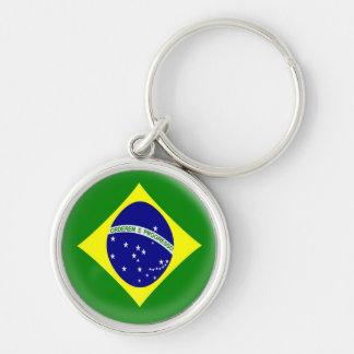 Keyring Brasil Brazilian flag Silver-Colored Round Keychain