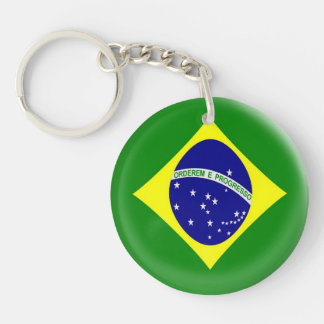 Keyring Brasil Brazilian flag Single-Sided Round Acrylic Keychain