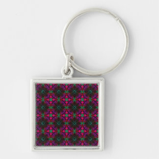 Keyring - Fractal Pattern pink green purple red Silver-Colored Square Keychain