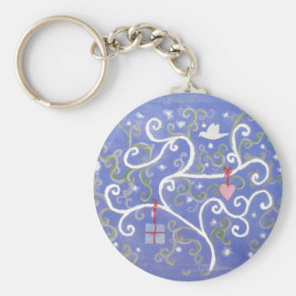 Keyring or keychain with Dove and Swirly Tree
