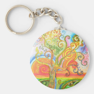 Keyring or Keychain with Psychedelic Tree Design