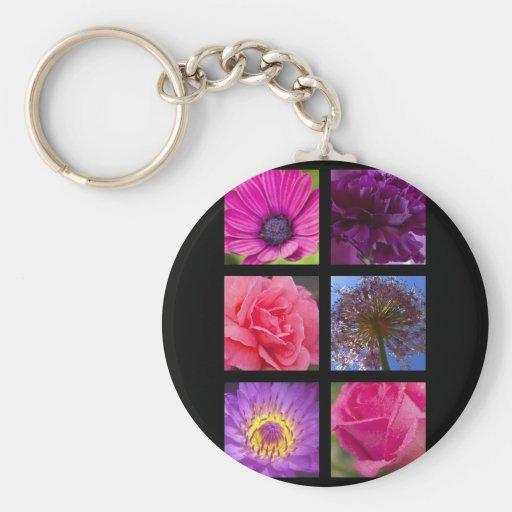 Keyring - Pink Purple Flowers Key Chain