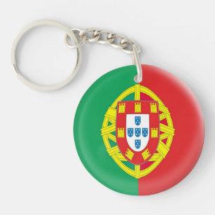 Leather Keyring Engraved Lisbon Portugal Flag