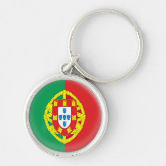 Keyring Portugal Portuguese flag Silver-Colored Round Keychain