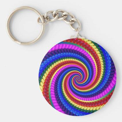 Keyring - Rainbow Swirl Fractal Pattern Basic Round Button Keychain