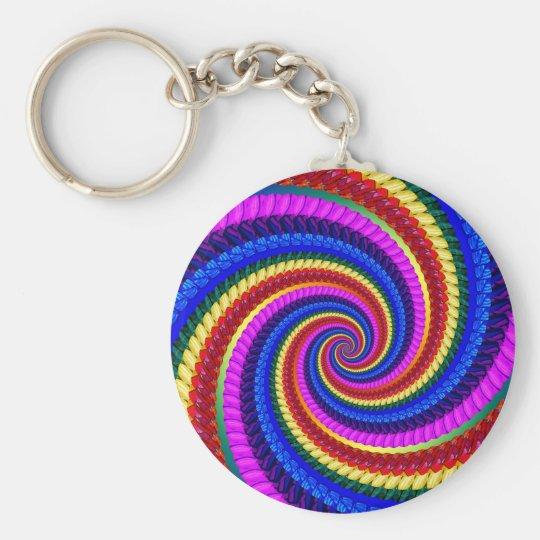 Keyring - Rainbow Swirl Fractal Pattern Keychain
