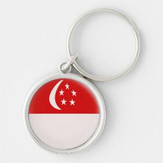 Keyring Singapore Singaporean flag Silver-Colored Round Keychain