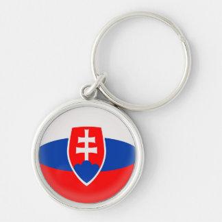 Keyring Slovakia Slovak flag Silver-Colored Round Keychain