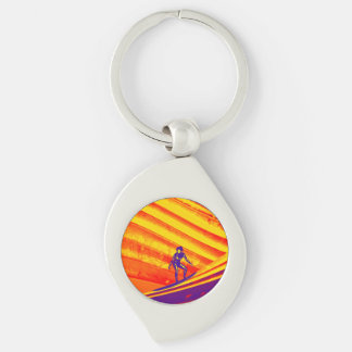 Keyring, Surfer Girl Silver-Colored Swirl Metal Keychain