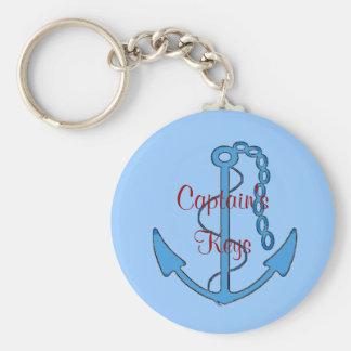 Keys Anchor Keychain de capitán de encargo Llavero Redondo Tipo Pin