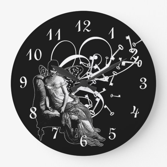Keys And Fairy Wings Large Clock
