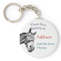 Keys Belong to Custom Name Custom she Loves Horses Keychain