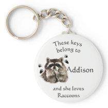 Keys Belong to Custom Name Loves Raccoons Keychain
