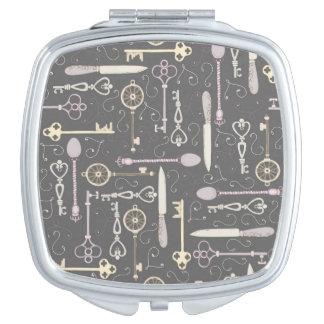 Keys & Cutlery Pattern Makeup Mirror