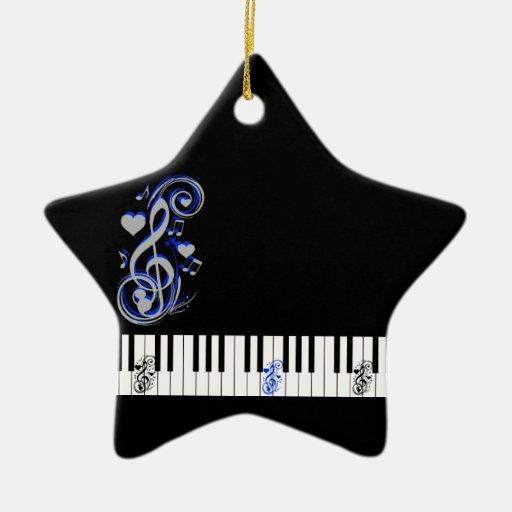 Key's Lof Love_ Double-Sided Star Ceramic Christmas Ornament
