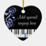 Key's Lof Love_ Double-Sided Heart Ceramic Christmas Ornament