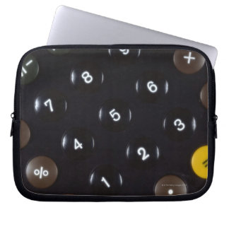 Keys on a calculator computer sleeve