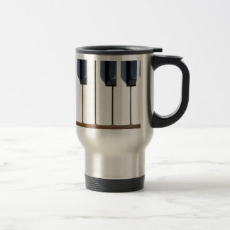 Keys on a piano travel mug