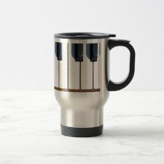 Keys on a piano travel mug
