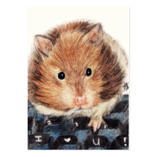 Keys to My Heart (Hamster) ACEO Art Trading Cards Large Business Card