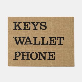 KEYS WALLET PHONE Black on Burlap Effect Doormat
