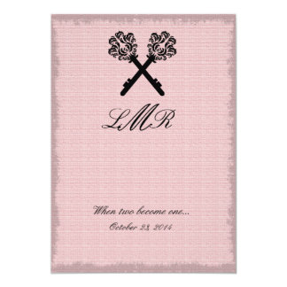 Keys Wedding Invite Elegant Linen Vintage
