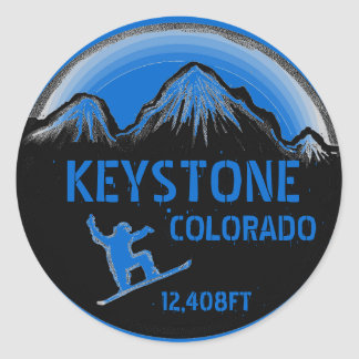 Keystone Colorado blue snowboard art stickers