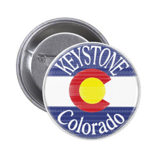 Keystone Colorado circle flag Pinback Buttons